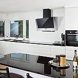 CIARRA CBCB6736C Hotte de Cuisine Inclinée 60cm - 370m³/h - Filtre à Charbon Inclus - Evacuation ou Recyclage - 3 Vitesses - LED Eclairage - Inox&Verre