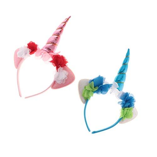 Bonarty 2pcs Pink Blue Unicorn Horn Headbands Fancy Dress Halloween Adult Kids Props