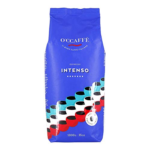 O'CCAFFÈ – Luxe Bar Intenso Espresso | 3 x 1 kg ganze Bohnen aus 100% Robusta | Kaffee aus extra langsamer Trommelröstung aus italienischem Familienbetrieb