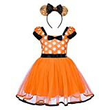 Disfraz de lunares, para niña, con diseño de lunares, para fiesta de boda, bautizo, cumpleaños, tutú de flores, para bebé, niño, baile, carnaval, gimnasia, cosplay, diadema de orejas de ratón.