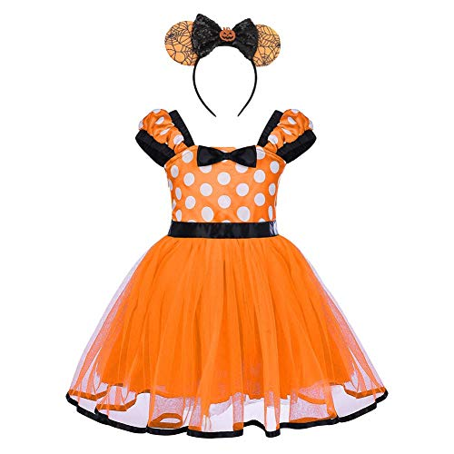 Baby Girls Polka Dots Tulle Spliced Tulle Dress Bowknot Headband Cake Smash Birthday Party Princess Pageant Tutu Skirt Fancy Cosplay Halloween Costume Orange-Pumpkin 4-5T