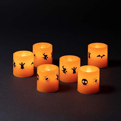 Lights4fun 6er Set LED Kerzen Halloween Deko batteriebetrieben