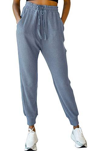 EVELIFE Damen Jogginghose Freizeithose mit Taschen Lange Sporthose Trainingshose Elastisch Taille Gürtel(Blau_L)