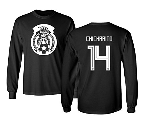 Tcamp Mexico 2018 National Soccer #14 Javier CHICHARITO World Championship Boys Girls Youth Long Sleeve T-Shirt (Black, Youth Small)