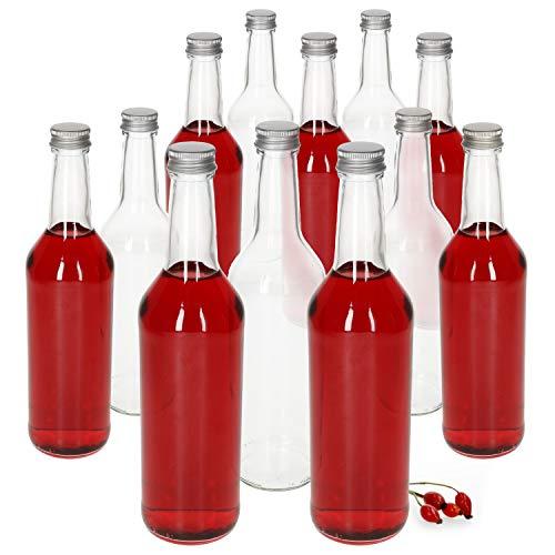 MamboCat 12-TLG. Bottiglia a collo dritto 500 ml + tappo a vite argento I 0,5 litri I bottiglia dosatrice rotonda