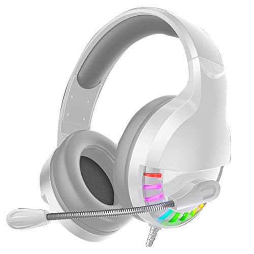 Nicoone Auriculares de juego con cable Auriculares estéreo envolvente con micrófono nudo de volumen para escritorio