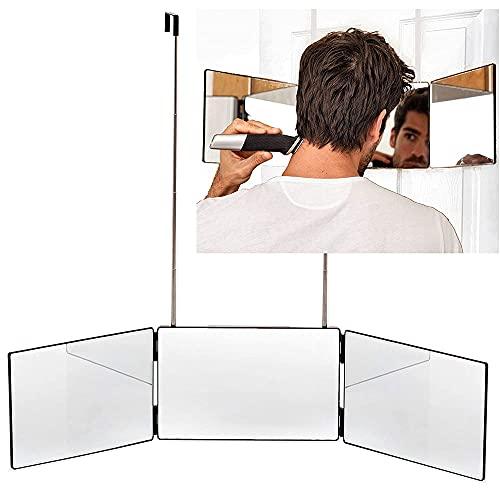Espejo de Maquillaje de 360 ° Espejo Portátil de Tres Pliegues Ajustable Utilizado para El Estilo de Corte Automático Altura Ajustable Ajuste Y Afeitado en Casa Corte de Pelo DIY