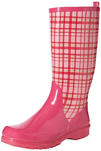 Playshoes Damen Gummistiefel, trendiger Regenstiefel aus Naturkautschuk, mit herausnehmbarer Innensohle, mit Karo-Muster, Pink (Rose 14), 37 EU