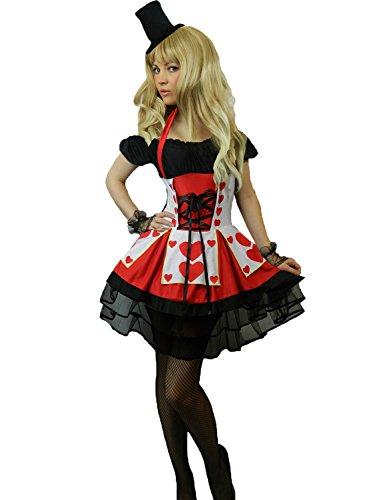 Yummy Bee - Alice im Wunderland Karneval Fasching Königin der Herzen Kostüm + Handschuhe Hut Damen Größe 34 - 50 (Damen:36-38)