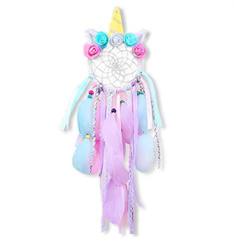 MMTX Unicornio Dream Catchers for Kids, Atrapasueños para Niños Atrapador de Sueños Hecho a Mano Flower Pink Dream Catcher para el Dormitorio de Las Niñas Colgante de Pared Decoración
