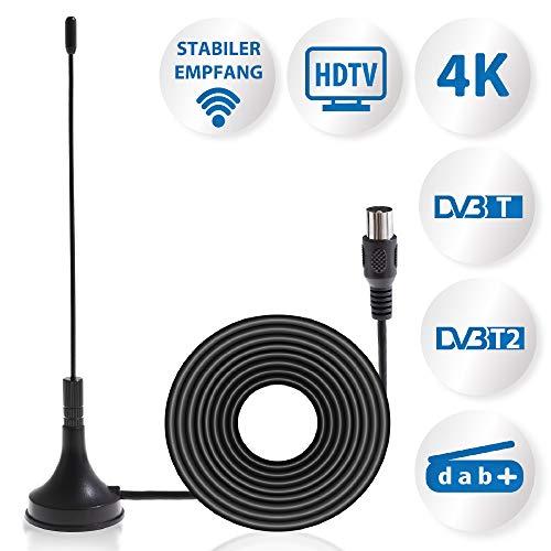 Anadol DVBT/T2 Antenne - Leistungsstarke DVB-T2 Antenne mit hoher Empfangsqualität Signalstärke/DVB-T2 & DVBT-HD/digital Ready/Magnetfuß & 1,5m Kabel/für alle DVB-T2 und DAB Geräte - 1,5 Meter Kabel
