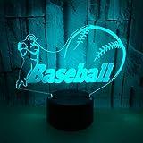 Veilleuse Lampe Nouveau base-ball coloré 3d lumières Acrylique 3d illusion tactile, télécommande lampe 3D...