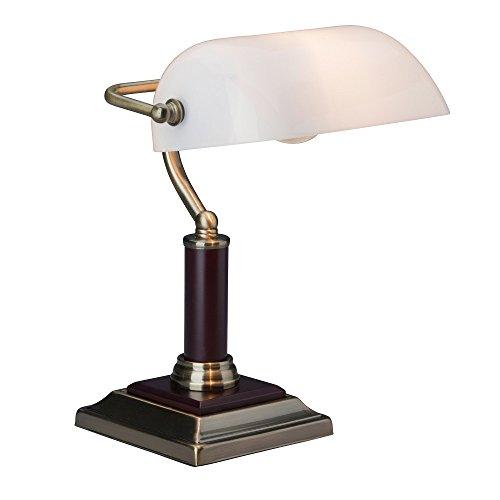 Elegante lampada da banco, da tavolo, con base in legno, 1x E27 max. 60W, metallo/legno/vetro, ottone antico