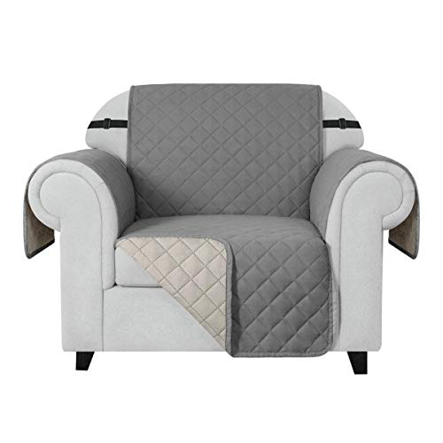CHUN YI Funda acolchada para sofá de microfibra con banda elástica, resistente al agua, con bolsillos antideslizantes, 1 plaza, color gris claro