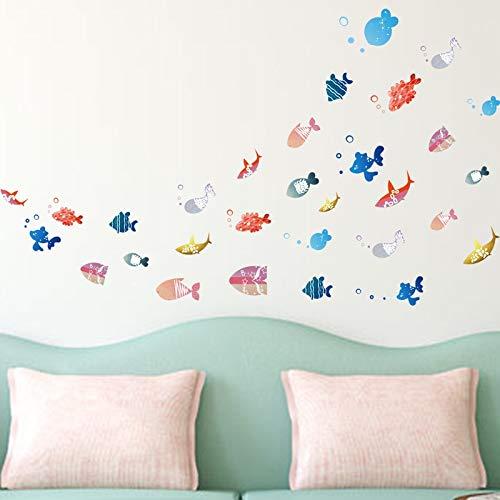 QTTZWZQ Kleurrijke Vissen Bubbles Muursticker Veel Vissen Home Sticker Papier Art Picture Murals Kids Kwekerij Babykamer Decoratie