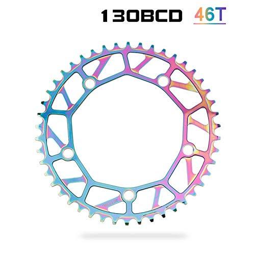 ZHTY Ajuste para Colorido 130BCD 46/48/50/52/54/56/58T Plato de Bicicleta Plegable Ancho Estrecho Plato de Bicicleta BMX de una Velocidad Plato de bielas arcoíris