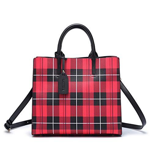 MWY Bolso de Mujer, Tela Escocesa Roja Salvaje Negra de Moda, Bolso de Mano de Gran Capacidad