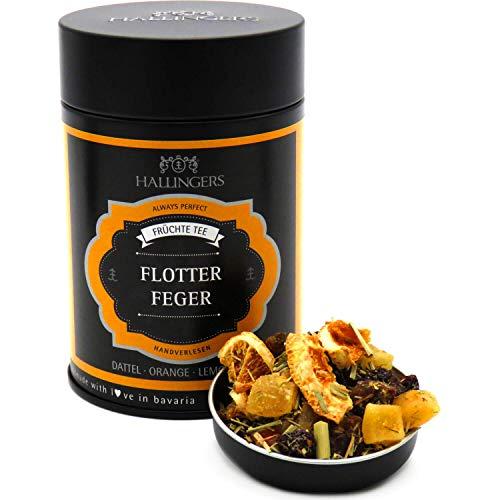 Hallingers Loser Früchte-Tee mit Dattel, Orange & Lemongras (170g) - Flotter Feger (Premiumdose) - zu Sommer Liebe & Hochzeit ideal als Geschenk