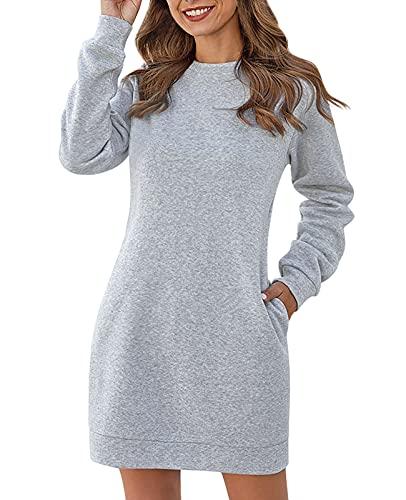 Jurebecia Mujer Jerséis Sudaderas sin Capucha Manga Larga Suéter de Invierno Otoño Jerseys Blusas Top de Manga Larga Gris XL