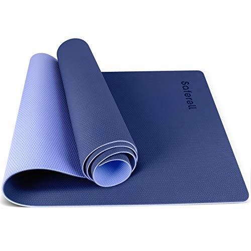 Saferell Yogamatte Gymnastikmatte rutschfeste aus TPE,Hypoallergen sportmatte mit Tragegurt,Fitnessmatte für Yoga, Pilates, Fitness Übungen und Gymnastik,Trainingsmatte 183 cm x 61 cm x 0.6 cm