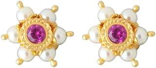 Lagu Bandhu 22k (916) Yellow Gold, Pearl and Crystal Stud Earrings for Women