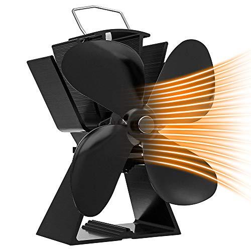 Maxesla Stromloser Ventilator Ofenventilator für Holzöfen/Kamin Lüfter, Hitze Powered Kaminventilator Ofenventilator mit 4 Rotorblätter, Kein Lärm, Umweltfreundlich…