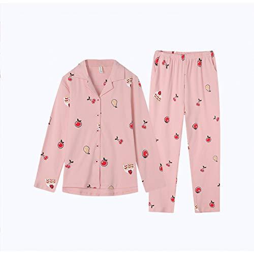 FLORVEY Pijama Pijamas de otoño para Mujer Pijamas de Traje de casa con Estampado Floral de Seda a la Moda Pijamas Sueltos con Solapa Causal Conjunto de Mujeres