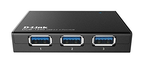 D-Link 4-Port USB 3.0 SuperSpeed USB Hub Including 4 Fast Charging Ports, Micro USB Port and 5V/4A Power Adapter (DUB-1340)