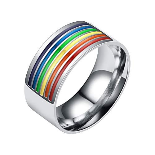 TENDYCOCO Stainless Steel Enamel Rainbow Ring LGBT Pride Ring Gays Lesbian Wedding Engagement Bands(9)