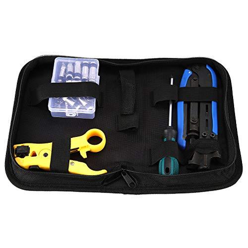 OVBBESS Kit de crimpador de cable coaxial, herramienta de compresión, juego de crimpadora de cable coaxial ajustable Rg6 Rg59 Rg11 75-5 75-7 pelacables coaxiales con 20 conectores de compresión F