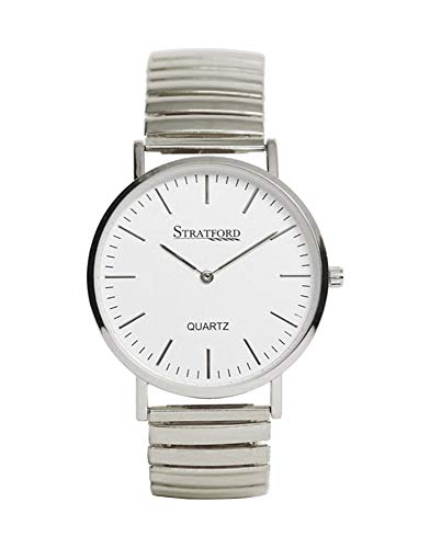 Stratford Silverone - Reloj de pulsera para hombre (metal, esfera analógica, tamaño grande), color plateado