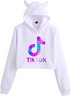 Tik Tok Girls Women's High Waist Sweater Tik Tok Hoodie Fashion Cat Ear Hoodie