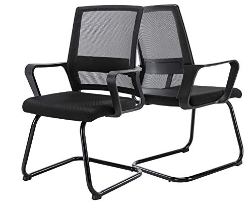 Janoray Office Chair Ergonomic Desk Chair Modern Conference Room Chair Mesh Reception Task Chair Black Work Chair Guest, 2 Pack