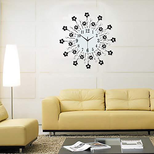 KK Zachary Reloj de pared simple y elegante de hierro forjado con incrustaciones de flores Reloj de pared Silencioso reloj de cuarzo, diámetro 35,4 cm