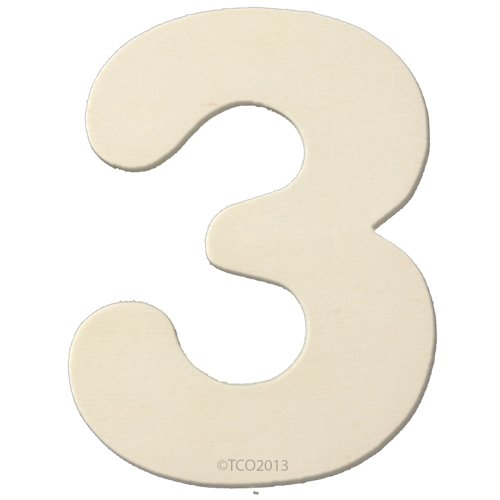 4 Wooden Number 4mm Thick About 3-1/4 Wide Number (3) Unfinished Plywood Number