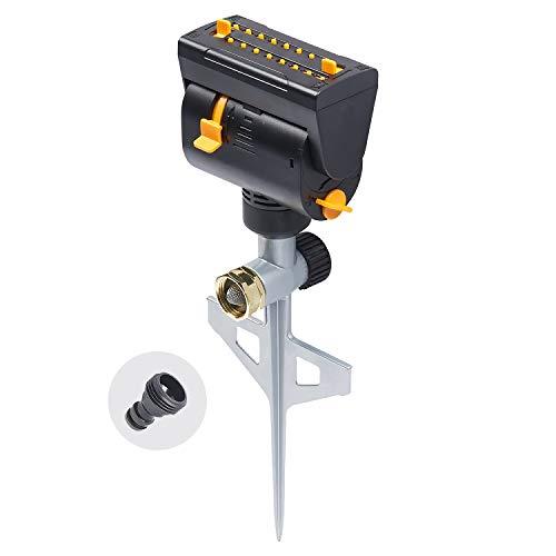 Melnor 65031-AMZ MiniMax Turbo Oscillating Sprinkler on Step Spike with QuickConnect Product Adapter Set, Black, Yellow