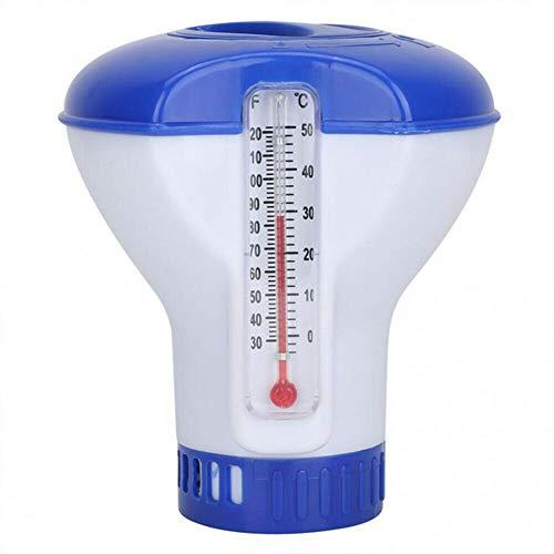 Canghai - Dispensador de productos químicos para piscinas con termómetro, dispensador de cloro flotante para piscinas, bañera de hidromasaje, n/a, 5 pulgadas