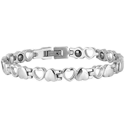 Magnettherapie-Armband, Gesundheits Armband, Titan Stahl Armband stilvolles Abnehmen Armband, Hohlherzmuster-Armband für Männer und Frauen, hervorragendes Geschenk 8.27in