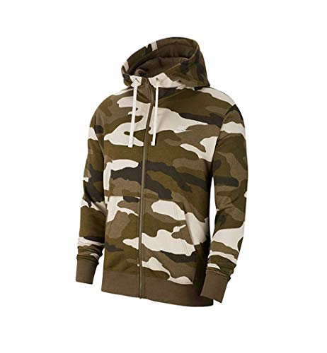 Nike Men's Sportswear Camo Club Fleece Full Zip-Up Hoodie BV3622 (XL, Medium Olive/Medium Olive-Summit White)