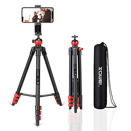 Phone Tripod?54 inch Travel Cell Phone Tripod with Bluetooth Remote Phone Holder Ball Head for TikTok/Live Stream/YouTube Video, Compatible with iPhone/Android/Camera