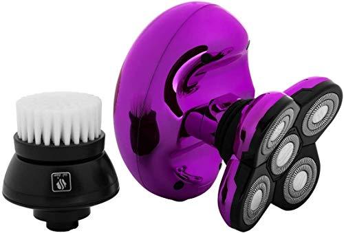 Butterfly Kiss Elektrischer Nass- und Trockenrasierer für Kopf und Körper – Damen Elektrischer Rasierer für Arme, Beine und Bikini (USB-Ladekabel) (lila)