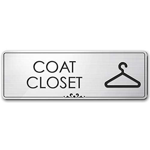"""Coat Closet Sign Coat Storage Closet Door Accessories, 3"""" x 9"""", Brushed Metal Finish, Laser Engraved, Prestige Collection, USA Made by MY SIGN CENTER"""