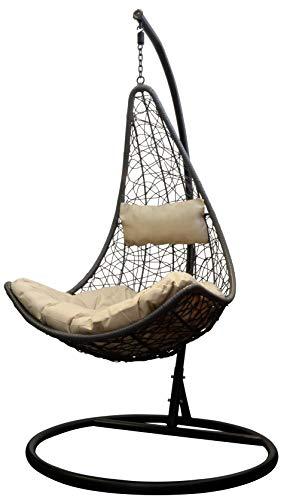 Trendyshop365 Polyrattan Hängesessel mit Gestell Hängestuhl für Garten & Lounge (beige)