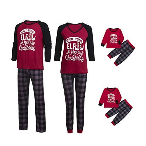 Holeider Weihnachten Pyjama Familie Outfit Set Schlafanzug Kind Mutter Vater Langarm Rot Bluse + Plaid Hosen Nachtwäsche Sleepwear Homewear für Damen Herren Kinder Weihnachtsoutfit