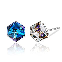 Bermuda Blue Swarovski Crystal Drop Stud Earrings