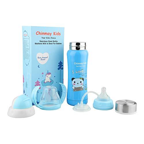 Ineffable 3 in 1 Multifunctional Baby Steel Feeding Bottle (Blue, 240 ml)