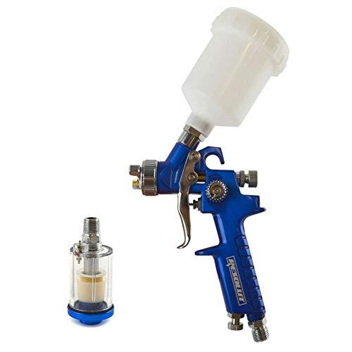 Mini HVLP Pistola rociadora de alimentación por gravedad, boquilla de 1,0 mm y 1/4 pulgadas BSP en línea trampa de humedad
