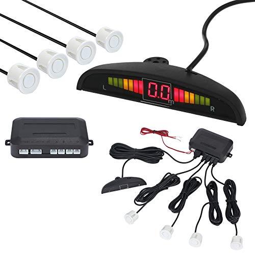 AUTOUTLET Einparkhilfe Parksensoren PDC Rückfahrwarner 4 Sensoren Universal Auto Rückwärtsparkhilfe Rückwärtsgang Audio Buzzer Alarm Kit LCD Display DC 12 V(weiß)