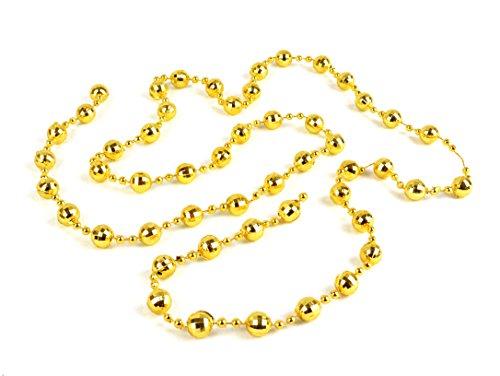 Helmecke & Hoffmann * Weihnachtsbaum-Kette mit Mini-Diskokugeln | Länge: 110 cm | Farben: Gold, Silber oder Rot | Kugelkette Perlenkette Partykette (Gold)