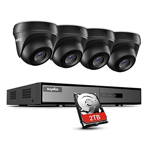 SANNCE Kit de Seguridad 4 Canales DVR 5-en-1 con 1TB Disco Duro de Vigilancia y 4 1080P Cámaras Sistema de Vigilancia IP66 Impermeable Exterior y Interior Visión Nocturna - 1TB Disco Duro